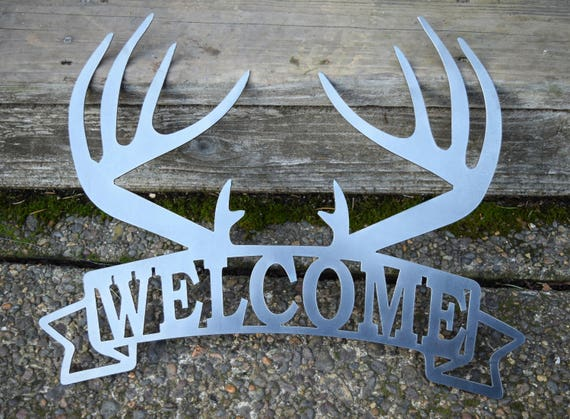 Metal Welcome Sign With Antlers | Home Decor | Hunting Sign | Deer Sign | Rustic Deer Welcome Sign