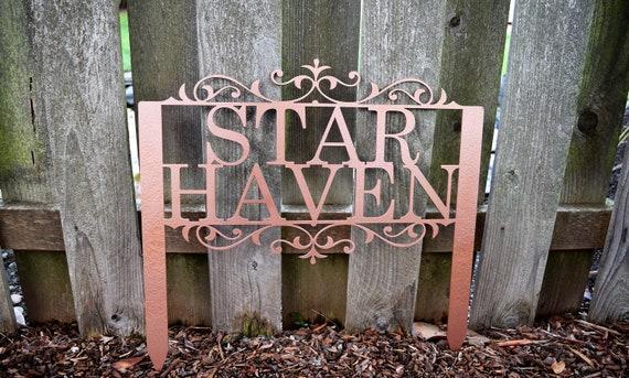 Custom Metal Staked Garden Sign - Custom Metal Name Sign - Metal Custom Garden Art Metal Garden Sign Yard Art Garden Decoration