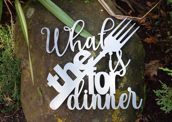 What the Fork is for Dinner | Kitchen Sign | Dinner Sign | Restaurant Sign| Metal Wall Decor & Art