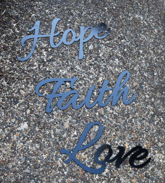 Hope Faith Love Metal Signs | Metal Wall Hangings  | Metal Art | Metal Letters |Custom Metal Sign | Vintage Metal Sign| Inspirational Sign