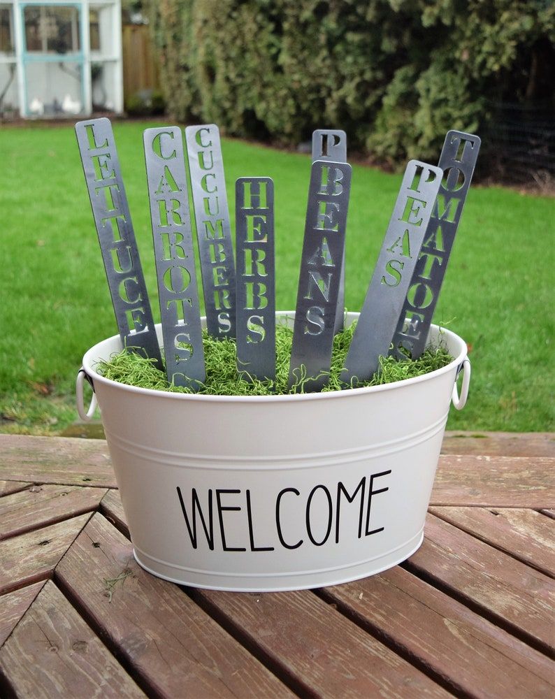 Charmant Set Of Metal Garden Markers | Plant Stakes | Herb Markers | Metal Garden  Stakes | Vegetable Markers | Gardening