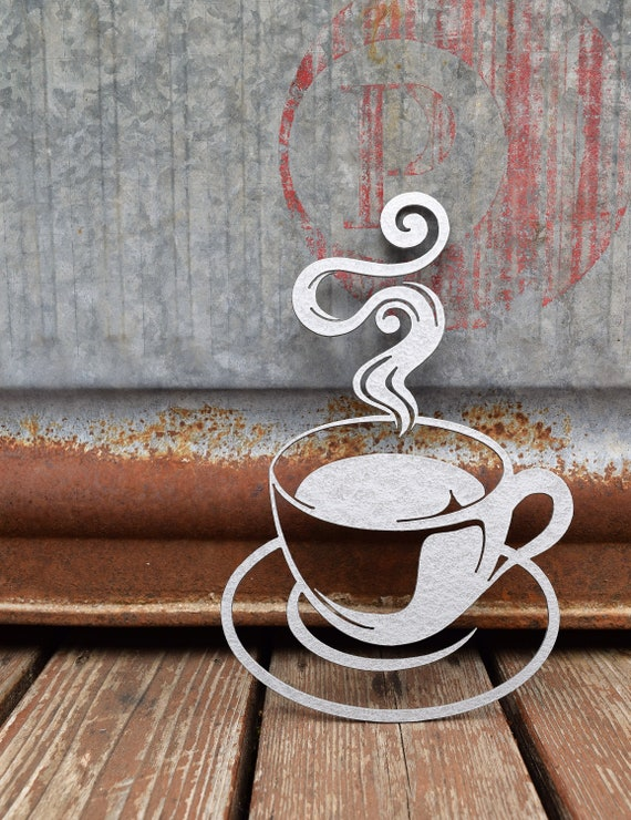 Large Metal Coffee Cup Sign | Abstract Metal Coffee Cup | Swirly Metal Coffee Cup | Metal Wall Decor & Art | Abstract Metal Coffee Cup