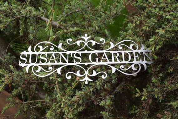 Custom Metal Garden Sign - Custom Metal Name Sign Custom metal Sign Metal Custom Garden Art Metal Garden Sign Yard Art Garden Decoration