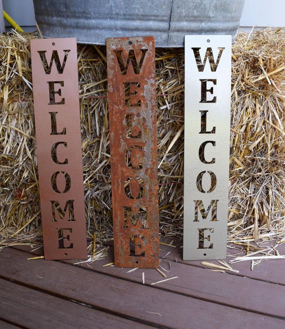 ordinary Vertical Metal Wall Art Part - 14: Vertical Metal Welcome Sign Metal Wall Art Monogram | Etsy