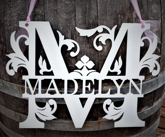 Split Monogram Baby Girl Nursery Name Sign Metal  | Personalized Name | Girl's Room | Baby Shower Sign | Custom Name Sign | Monogram