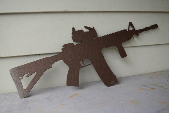 AR-15 Metal Gun Sign | Custom Metal Wall Art | Military Sign | Firearm | America Sign |  Gun Sign | Hunting Sign