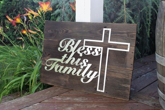 Bless This Family metal sign - Christian Metal Art, Custom Metal Sign, Rustic Metal Sign, Christian Art, Metal Quote Sign, Metal Saying Sign