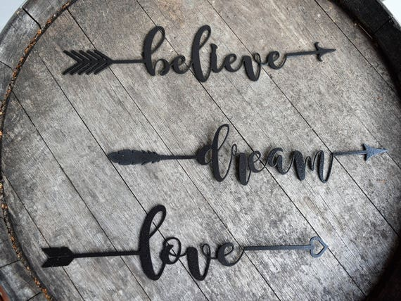 Inspirational Metal Arrows | Believe | Dream | Hope | Love | Faith | Achieve| Metal Wall Art | Metal Home Decor | Arrow Decor | Farmhouse
