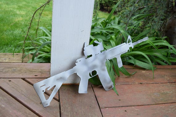 AR-15 Metal Gun Sign | Custom Metal Wall Art | Military Sign | Firearm | America Sign |  Gun Sign | Hunting Sign
