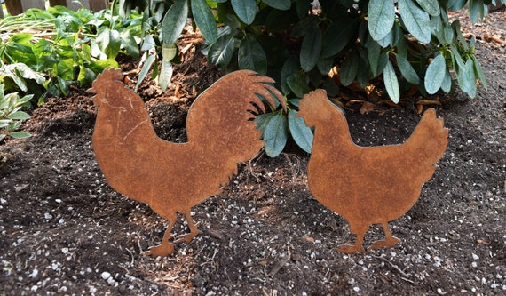 Chicken and Rooster Garden Stakes | Hen and Rooster Yard Stakes | Staked Yard Art | Metal Staked Chicken and Rooster