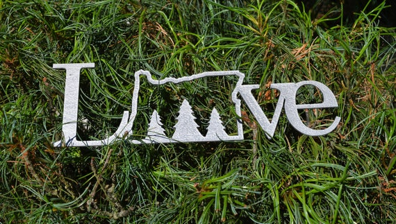 Metal Oregon Love Sign | State Sign | Oregon Tractor Cross Trees Forest Deer Sign | Custom Metal Home Oregon Sign | Custom Name Sign