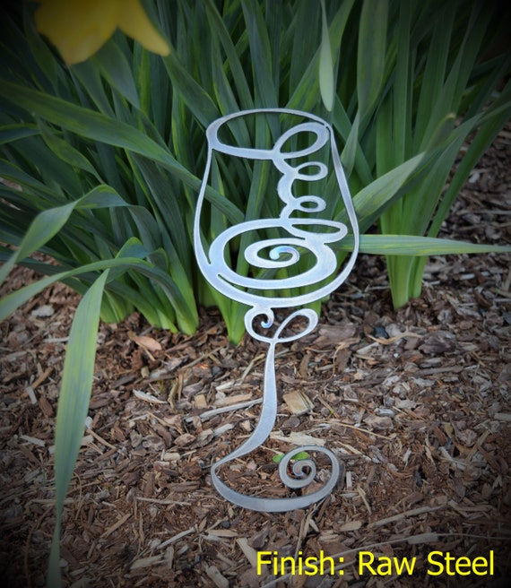 Small Metal Wine Glass | Abstract Metal Wine Glass | Swirly Wine Glass | Vino | Metal Wall Decor & Art