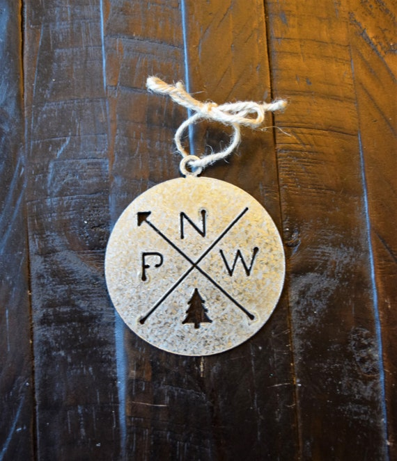 Pacific Northwest Ornament Galvanized | PNW Ornament | Outdoors Ornament | Christmas Ornament | Hiking Decor | Woods Decor | Forest Ornament