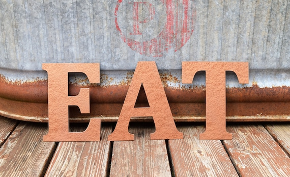 "Metal ""EAT"" Letters Metal Sign 