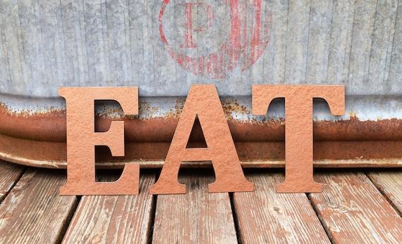 "Metal ""EAT"" Letters Metal Sign | Rustic Art | Metal Name Sign | Custom Metal Sign | Monogram | Kitchen Art | Kitchen Decor | Food Art"