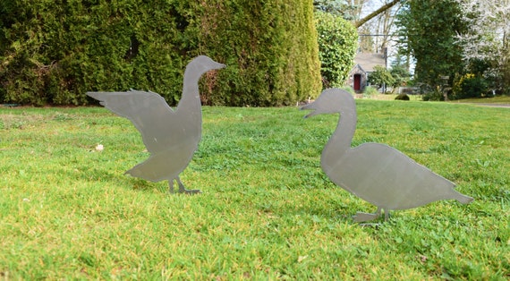 Duck Garden Stakes | Hen and Mallard Yard Stakes | Staked Yard Art | Metal Staked Ducks | Yard Art | Farmhouse Sign | Ducklings