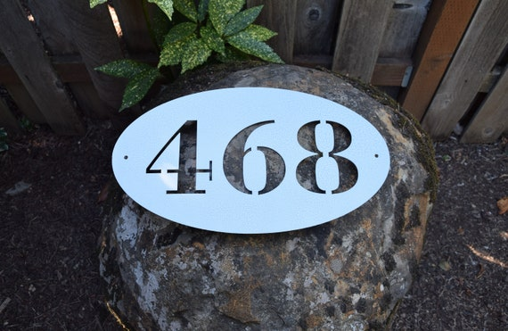Large 10x18 Inch Metal Oval Horizontal Home Address Sign| Custom House Number Plaque | Address Plaque | Mailbox Numbers | House Numbers