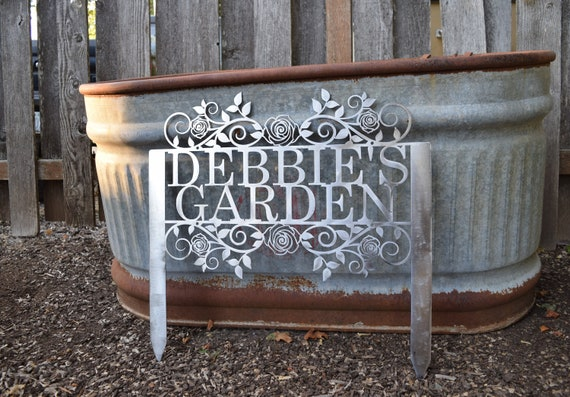 Custom Metal Staked Garden Sign with Roses | Custom Metal Name Sign | Metal Custom Garden Art Metal Garden Sign Yard Art Garden Decoration
