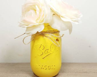 Yellow Party Decor, Yellow Baby Shower, Yellow Mason Jar, Party  Centerpieces, Rustic Party Decor, Girl Baby Shower Decor, Yellow Home Decor
