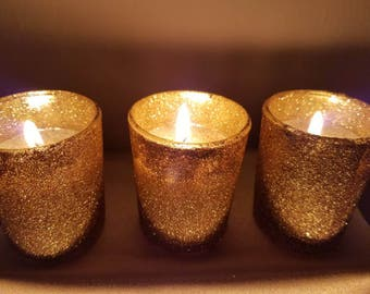 Gold Glitter Votives - Votive Candle Holder - Wedding Candles - Table Candle Holder Centerpiece - Glass Votive Holder - Gold Glitter Candles
