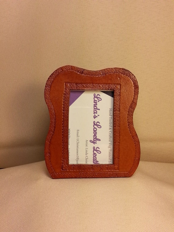 214c202c3cd Small Wallet Size Picture Frame Handmade Leather Stamped   Etsy