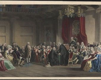BEN FRANKLIN Before Lords Council London 1774 - Hand Colored Engraving - Framed with Glass-Vintage