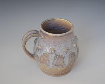 Large Handmade Ceramic Coffee Mug; Unique Mug; Large Tea Mug; Cream and Purple Mug