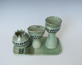 Handmade Ceramic Havdalah Set, Havdala, Jewish Ritual, Wedding Gift, Bar and Bat Mitzvah Gift, Judaica, Jewish Ritual Art