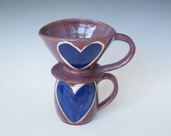 Handmade Ceramic Coffee Mug and Pour Over Set Mug; Unique Mug and Matching Pour-Over; Handthrown Mug and Pour-Over; Heart-Shaped