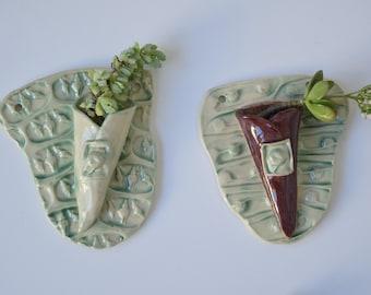 Air Plant Wall Pocket, Succulent Planter; Ceramic Handmade Air Holder; Gardener Gift