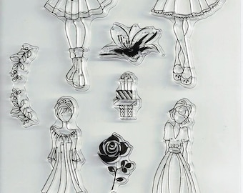 Girl Talk Clear Stamps 7 pcs Scrapbooking