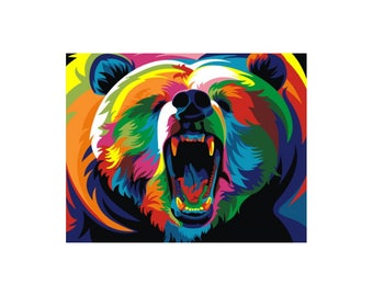 Paint by numbers kit RAINBOW BEAR A4 TA40109