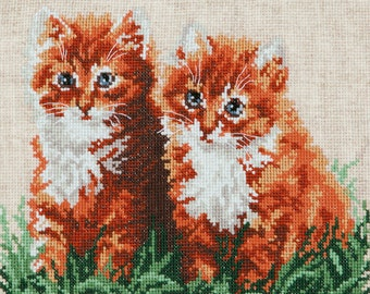 Cross stitch kit Ginger friends (cat)
