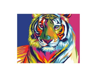 Paint by numbers kit RAINBOW TIGER A4 TA40110