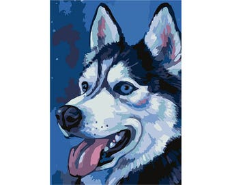 Paint by numbers kit  HUSKY A4