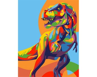 Paint by numbers kit RAINBOW DINOSAUR