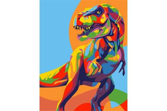 Malen Nach Zahlen Kit Regenbogen Dinosaurier