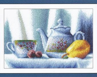 Cross Stitch Kit Floral Teapot