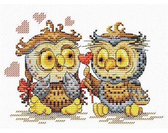 Cross Stitch Kit Owl's love M-087