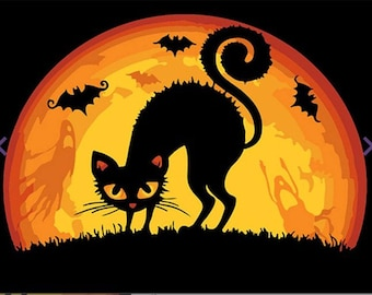 Paint by numbers kit  HALLOWEEN CAT T16130050
