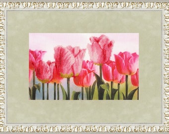 Cross Stitch Kit Pink tulips
