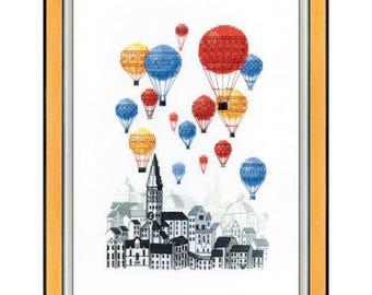 Cross Stitch Kit Travel on hot air balloons BT-193