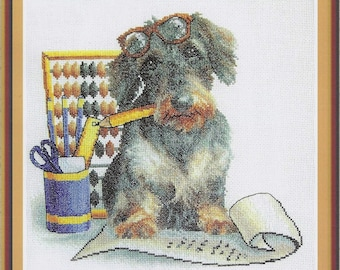 Counted Cross Stitch Kit Accountant D-0296 (dog)