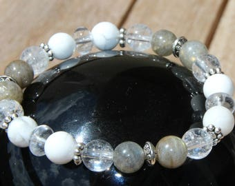 quartz labradorite on elastic bracelet