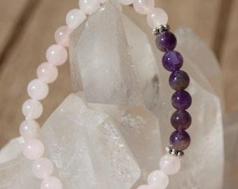 Bracelet rose quartz, Amethyst beads, 6 mm