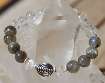 quartz and labradorite on elastic bracelet