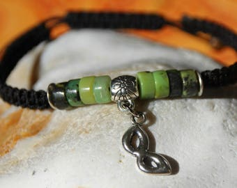 Bracelet with chrysoprase beads nylon thread