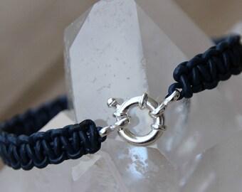 clasp buoy Silver 925 braided leather bracelet
