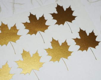35 Maple Leaf Stickers, Maple Invitation Seals, Gold Wall Stickers, Scrapbooking, Party Favor, Window Decals, Envelope Seals, Gold Leaves