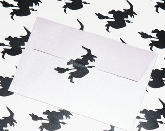 36 Witch Stickers, Halloween Stickers, Witch Decals, Envelope Seals, Halloween Party Decor, Halloween Invitation Seals, Party Cup Stickers